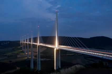 The Millau Bridge at night