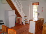 Cottage kitchen and staircase